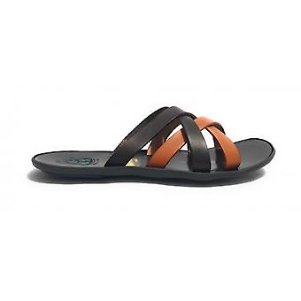 Men's Shoes Elite Slipper Two-Tone Leather Bands Dark Tobacco Us17el31