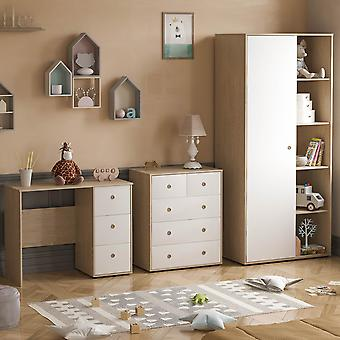 Neptune 3 Piece Bedroom Furniture Set Desk, Chest of Drawers, Wardrobe Two-tone, White & Oak