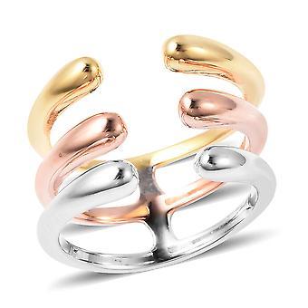 Lucy Q Open Ring voor dames in rose, geel en wit verguld zilver