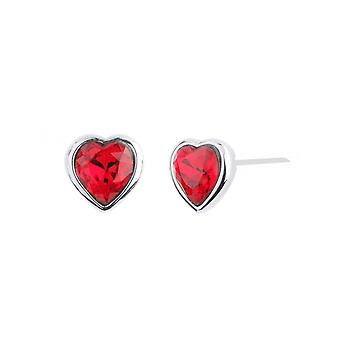 Traveller Pierced Earrings Heart Rhodium plated with Crystals from Swarovski - 157262