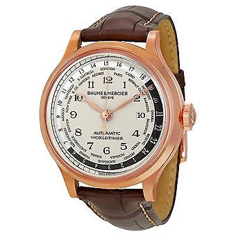 Baume And Mercier Capeland Worldtimer Beige Dial 18kt Rose Gold Brown Leather Men's Watch 10107
