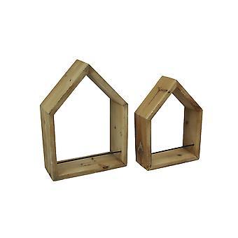 Set of 2 House Shaped Wooden Wall Mounted Shelves