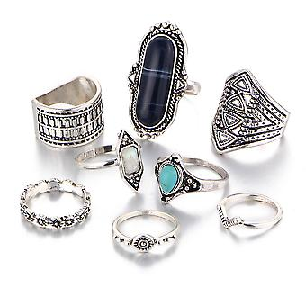 8pcs Bohemian Ring Set Carved Diamond Inlaid  Retro Finger Ring For Daily Use