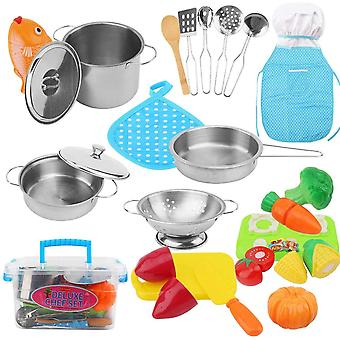 HanFei 25-Teiligekchenspielzeug Zubehr Kinderkche Kochgeschirr, Edelstahl Pfannenset und Kochmtze