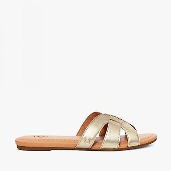 UGG Teague Ladies Leather Mule Sandals Gold
