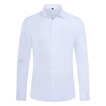Yunyun Men's Lapel Pure White Business Meeting Wedding Long-sleeved Shirt Without Pockets
