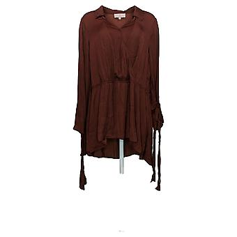 Laurie Felt Women's Plus Top Ribbon Long Sleeve Woven Blouse Red A309556