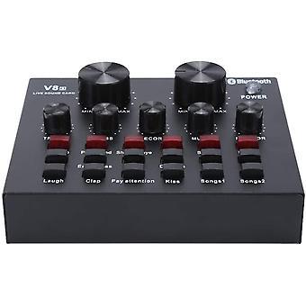 FengChun V8 Live Soundkarte, Audio DJ Mixer Voice Changer Gert Soundkarte mit Mehreren lustigen
