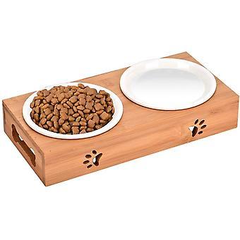 Katze Napf-Set Anti-Rutsch Katzennäpfe Keramik Set mit Bambus Ständer Katzennäpf Hundenäpf