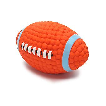 New Rugby Ball Squeaky Dog Pet Chew Toy 8 X 14cm ES4916