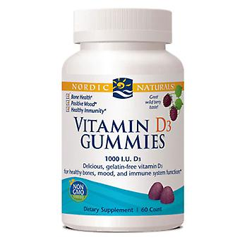 Nordic Naturals Vitamin D3 Gummies, 1000 IU, Wild Berry 120 Count