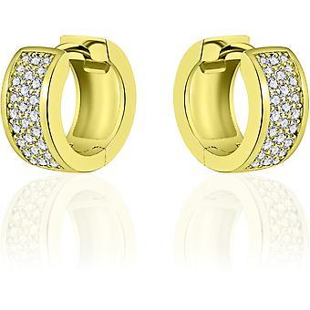 Gisser Jewels - Örhängen - Örhängen med gångjärn - Tillplattade med Zirconia - 7mm Bred - 15mmØ - Gult guld pläterat Silver 925