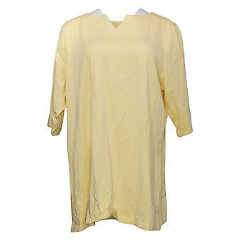 Denim &co. kvinners topp vanlig nakke erme tunika gul A392091