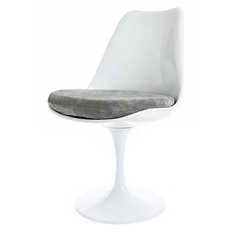 Fusion Living blank vit och grå lyxig svängbar sidostol