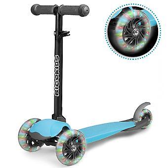 Dreiradroller mit leuchtenden Rädern – Blau