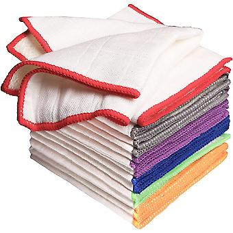 8pcs Bamboo Dish Cloths Rags Super Absorbent Ecokitchen Towels Scrubbing Side