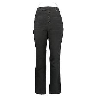 DG2 von Diane Gilman Damen Jeans Classic Side Snap Knöchel Schwarz 740960