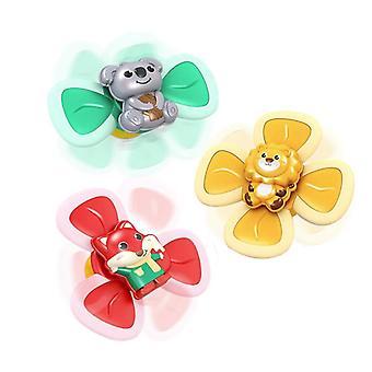 3db Tapadókorong Spinning Top Baba játékok Aranyos állatok Érdekes Baba fürdő játékok
