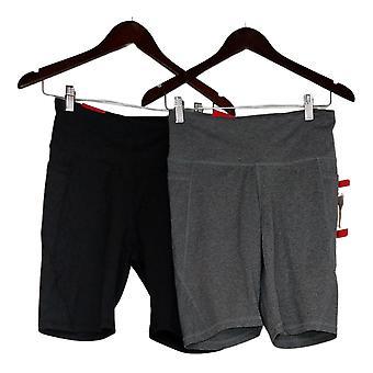 Danskin Women's Shorts L Set Of 2 Solid Ladies' Bike Short Black