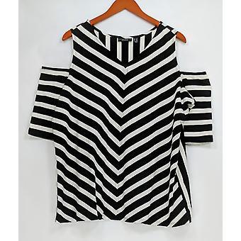 Susan Graver Women's Plus Top Weekend Striped Stretch Cotton Negro A288496