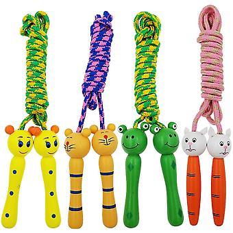 4 corde de saut de paquet avec des poignées en bois