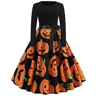 Halloween klänningar kvinnors skelett pumpa tryckt cosplay party kostym
