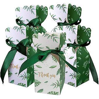 50 Stück Geschenktüten Grüne Süßigkeiten Box Band Dekoration Hochzeit Geburtstagsfeier Geschenk