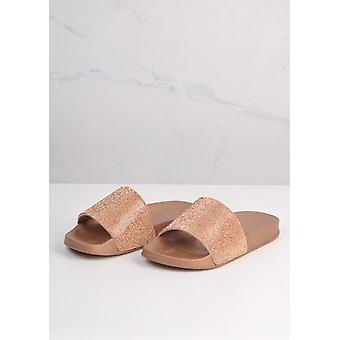 Sparkle Diamante flachen Sliders Rose Gold