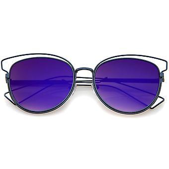 Moda damska otwarta obudowa metalowa opalizujący obiektyw kot okulary przeciwsłoneczne 55mm