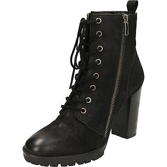 Ravel Alverstone Leather Heeled Lace Ankle Boots Black