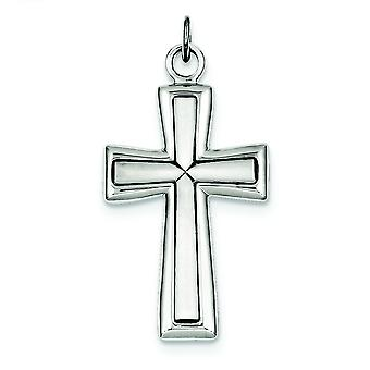925 Sterling Silver Solid Satin Back Engravable Antique finish Polished and satin Cross Pendant