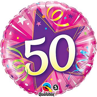 Qualatex 18 Inch Age 50 Shining Star Circular Foil Birthday Balloon