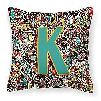 Bokstaven K Retro Tribal alfabetet første Canvas stoff Dekorative Pillow