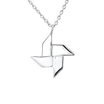 Origami Ninja Star - 925 Sterling Silver Plain Necklaces - W26056X