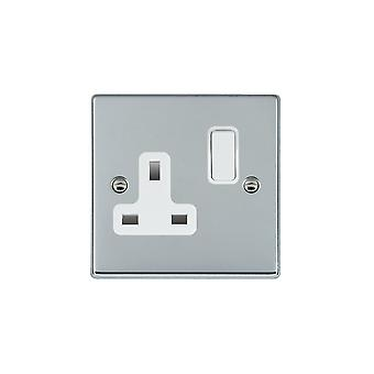Hamilton Litestat Hartland Bright Chrome 1g 13A DP Switched Socket WH/WH