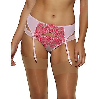 Gossard 14402 Women's Colour Clash Raspberry Kiss Pink Floral Embroidered Garter Belt Suspender Belt