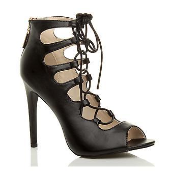 Ajvani womens hoge hak lace up gladiator uitgesneden gekooide ankle sandalen schoenen