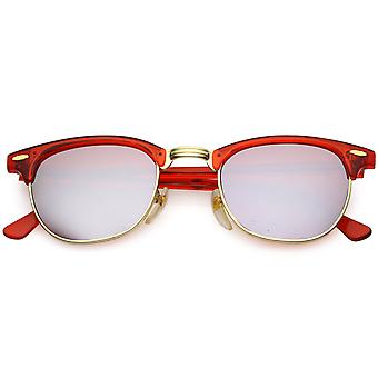 True Vintage Horn Rimmed Semi Rimless Sunglasses Mirrored Square Lens 49mm