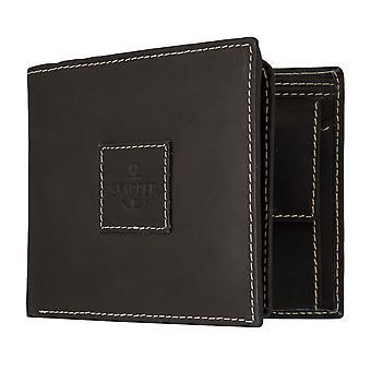 Skipper mens wallet portefeuille sac à main en cuir sac à main format paysage noir 7114