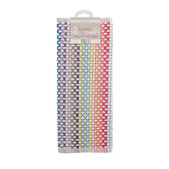 Country Club Pack of 2 Tea Towels, Rainbow