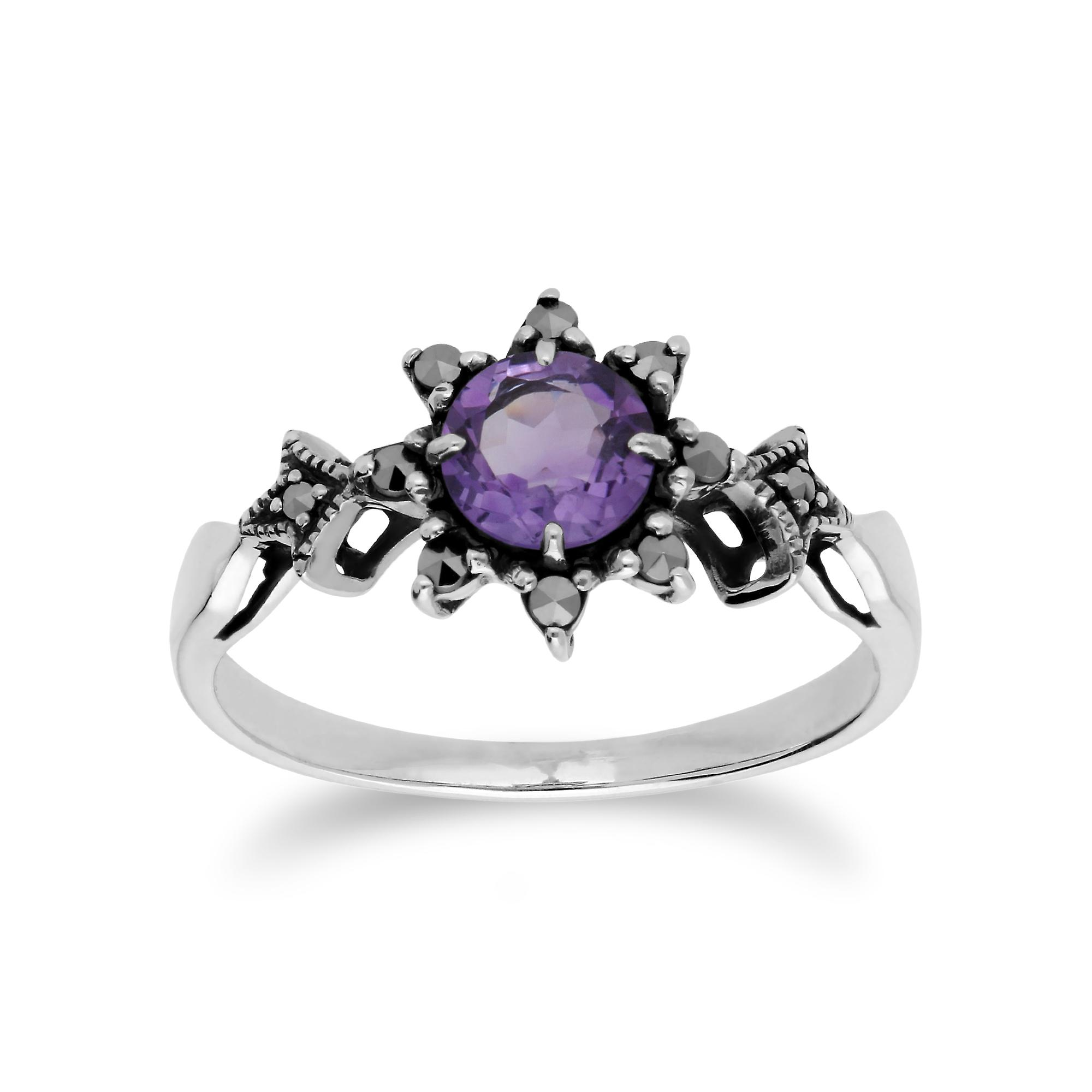 Gemondo Sterling Silver Amethyst & Marcasite February Art Nouveau Style Ring