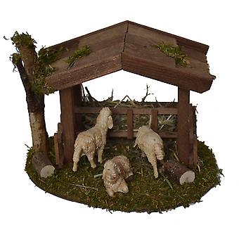 Shelter with Futterraufe and 3 sheep for Christmas Nativity stable Nativity accessories