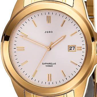 JOBO Herren Armbanduhr Quarz Analog Edelstahl vergoldet Datum Herrenuhr
