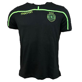 2018-2019 sporting Lissabon Macron Cotton T-Shirt (svart)