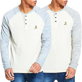 Brave Soul Mens Caliph Long Sleeve Raglan Grandad Neck T-Shirt Top Pullover