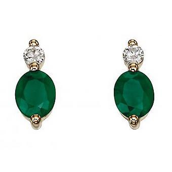 Elementit Gold Emerald ja pudota korvakorut - vihreä/kulta