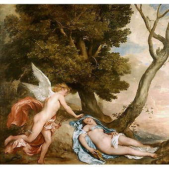 Cupid and Psyche, Dyck Anthony van, 50x50cm