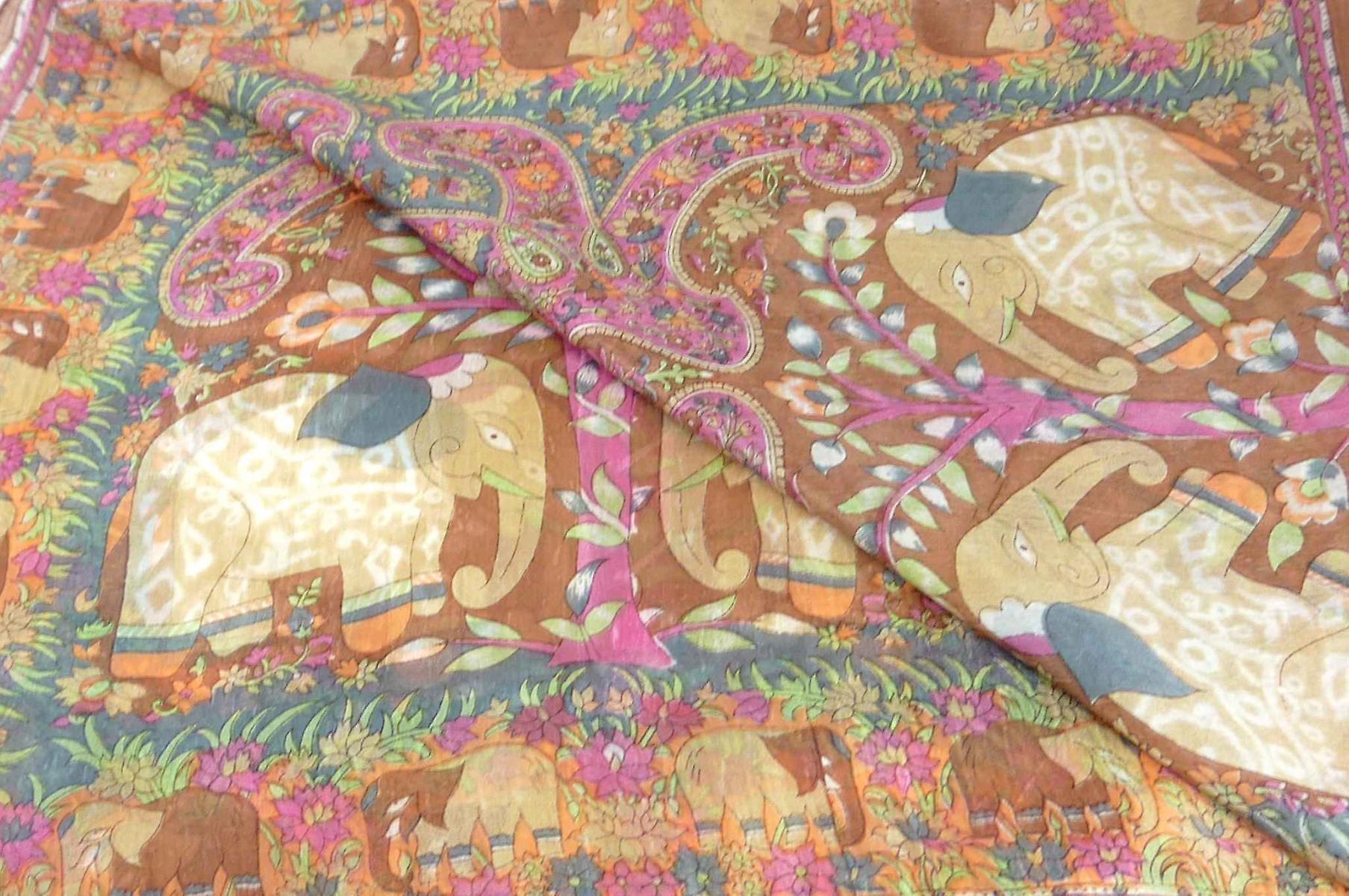 Mulberry Silk Traditional Long Scarf Kibe Caramel by Pashmina & Silk