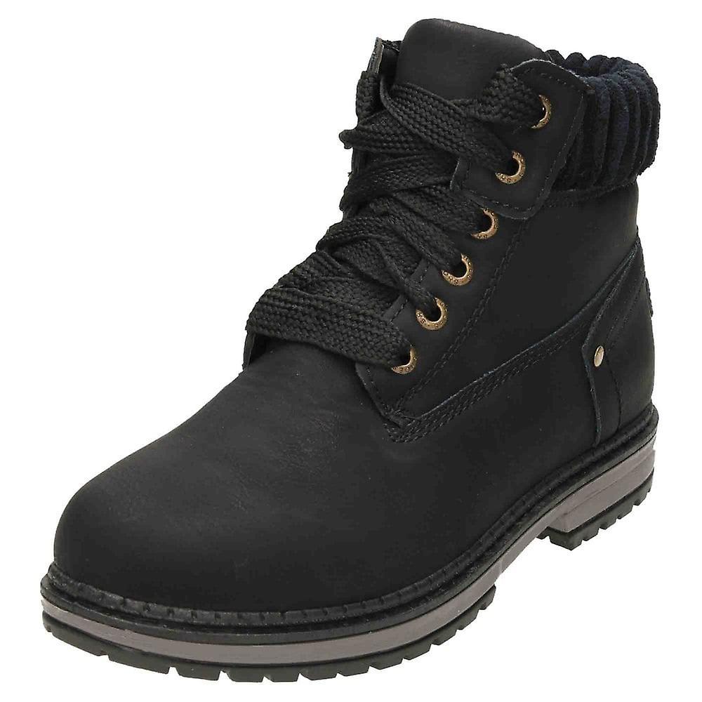 Krush Lace Up Black Flat Chukka Ankle Boots