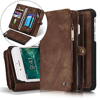 CASEME iPhone 7/8 Plus Rétro Split portefeuille en cuir Case-brun